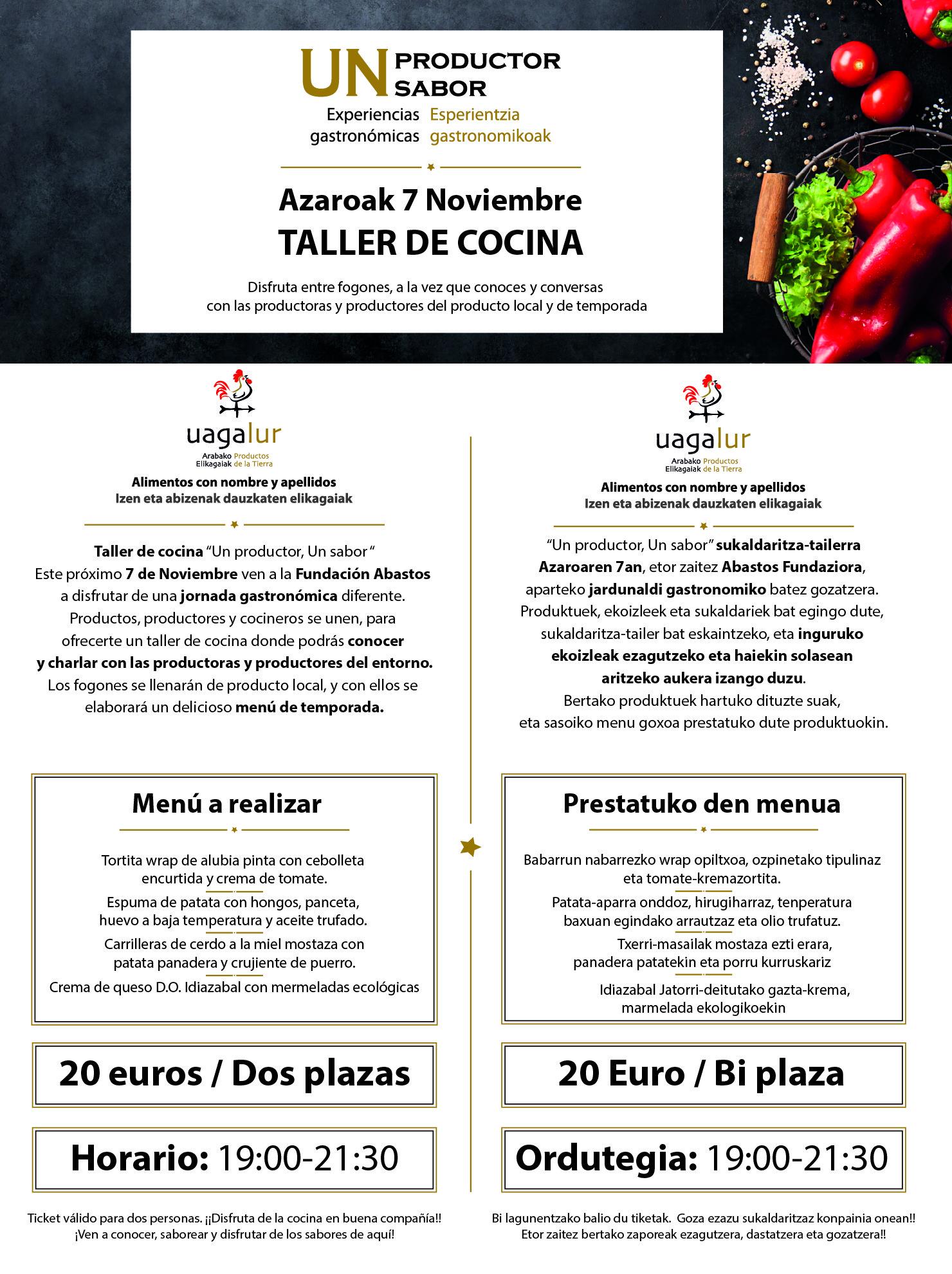 """TALLER DE COCINA """"UN PRODUCTOR, UN SABOR"""""""